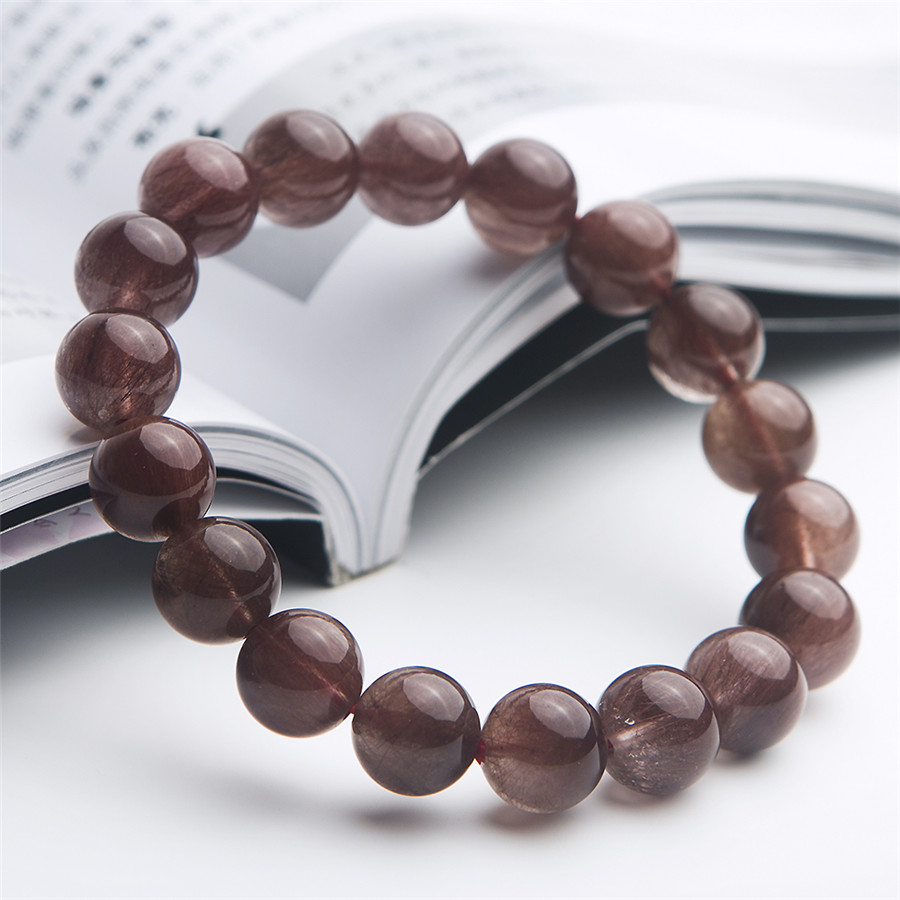 11 mm Brazil Natural Red Rutilated Quartz Crystal Clear Round Beads Jewelry Stretch Bracelet For Women11 mm Brazil Natural Red Rutilated Quartz Crystal Clear Round Beads Jewelry Stretch Bracelet For Women