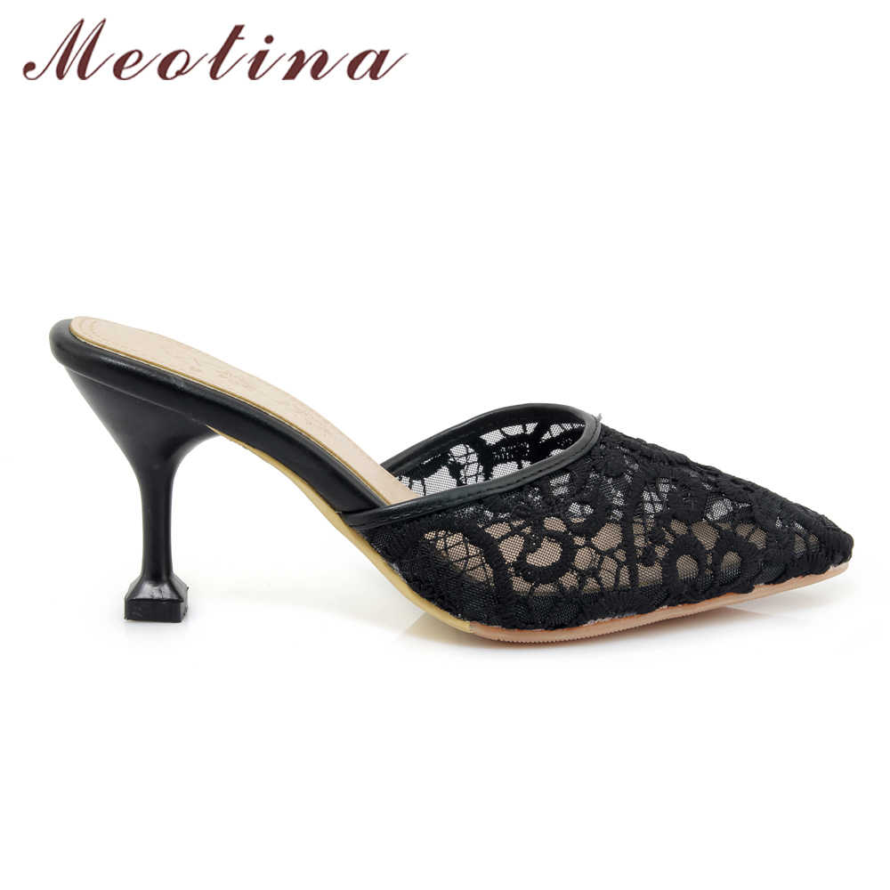 8c77e20d6d7b ... Meotina Women Pumps High Heels Mules Shoes Kitten Heels Pointed Toe  Lace Slippers 2018 Spring Shoes ...