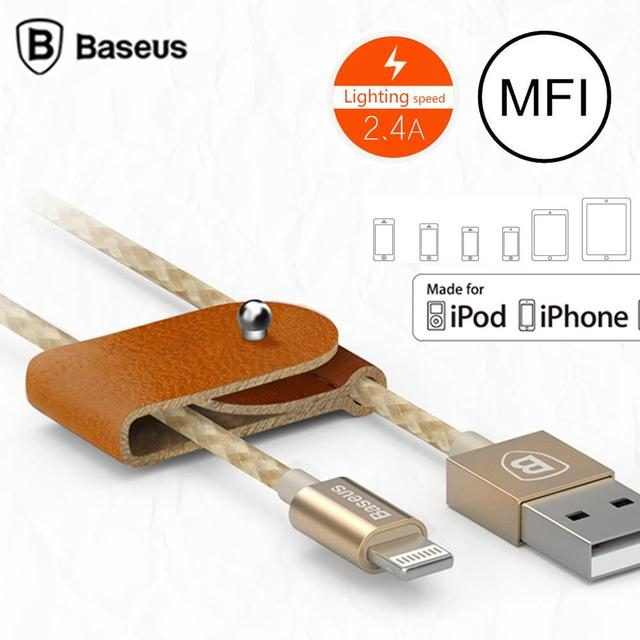 Genuine Baseus MFI Cable For iPhone 5 6 iPad Mini Air iPod Touch Nano7 Durable Braided 8Pin USB Data Sync Charging Cable Cords