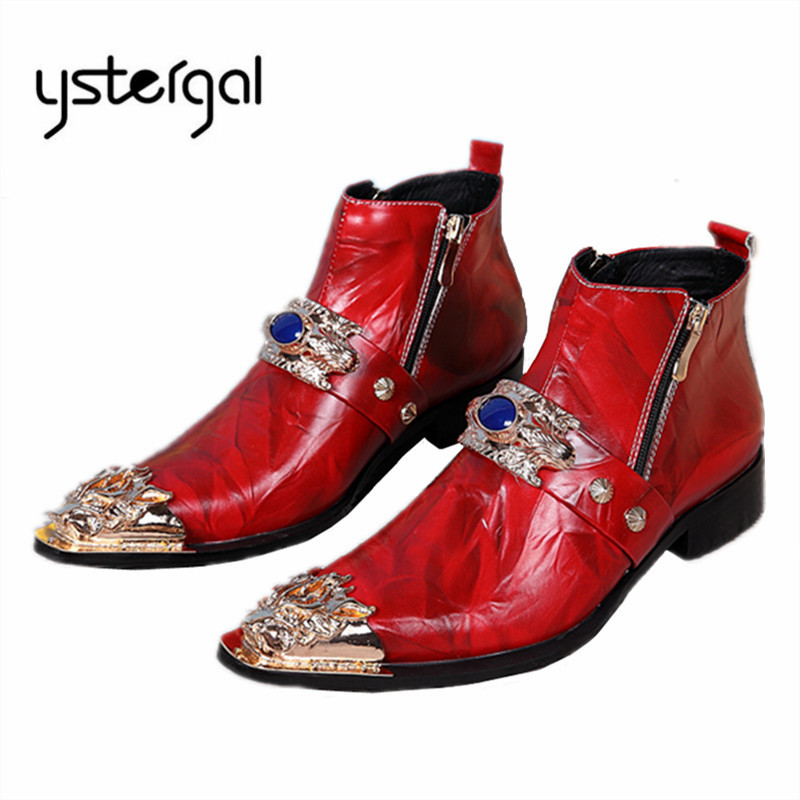 YSTERGAL Red Pointed Toe Men Ankle Boots Genuine Leather Metal Decor Botas Hombre Cowboy Military Boots Formal Dress Shoes Flats brown men ankle boots spring autumn genuine leather cowboy boots pointed toe lace up mens military boots safety shoes footwear