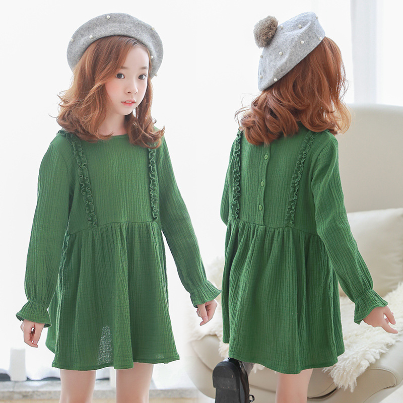 autumn ruffles cotton dress girl 12 years 14 10 8 7 years flare sleeve long sleeve children dress for girls kid clothing spring girls autumn kids dress cotton striped long sleeve birthday party dresses fashion style teen girls clothing 12 14 years children