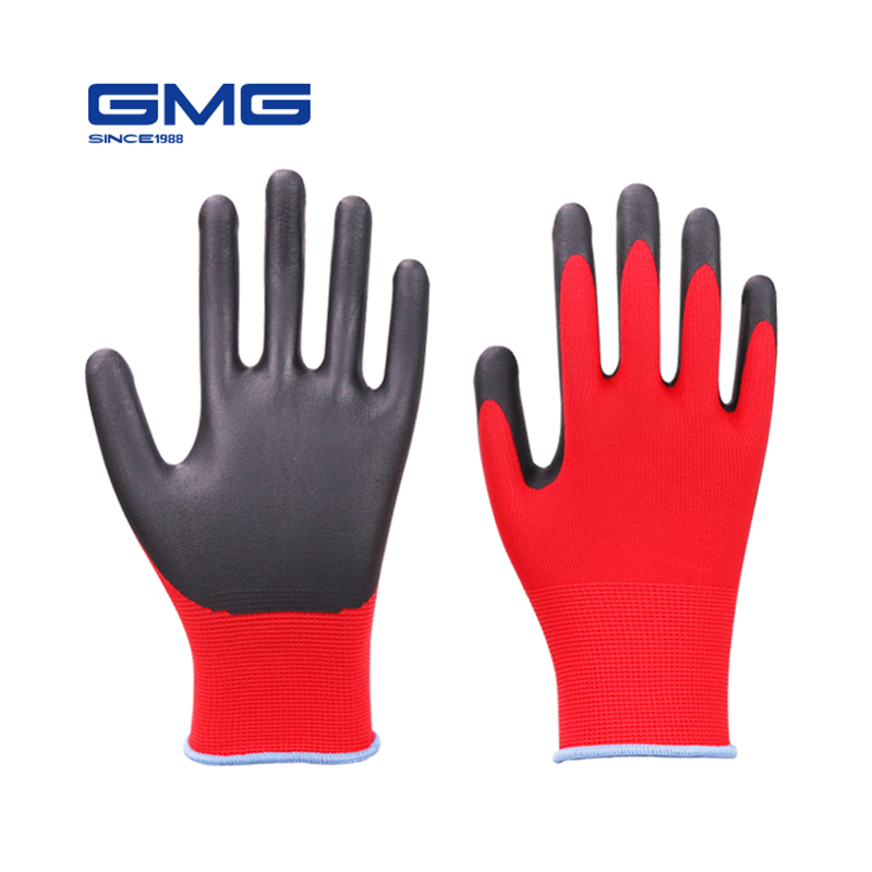 Mechanic Gloves GMG Red Polyester Shell Black Nitrile Foam Coating Work Safety Gloves Working Gloves Men Women