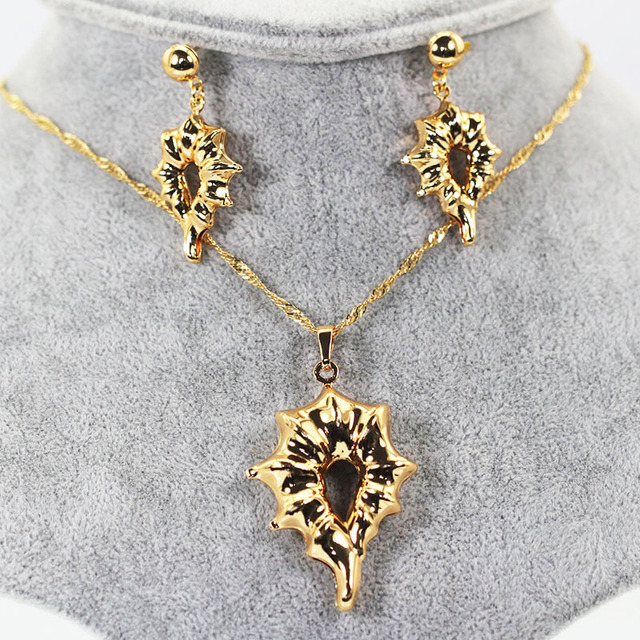 Unique gold pendant necklace jewelry set wedding copper drop unique gold pendant necklace jewelry set wedding copper drop earrings necklace set 2017 women bride wife aloadofball Image collections