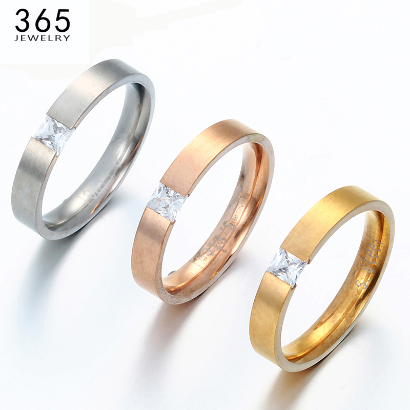 2017 Baru 4mm Stainless Steel Wedding Rings Jangan Fade Rose Gold Warna Pecinta Batu CZ Janji Perhiasan Wanita