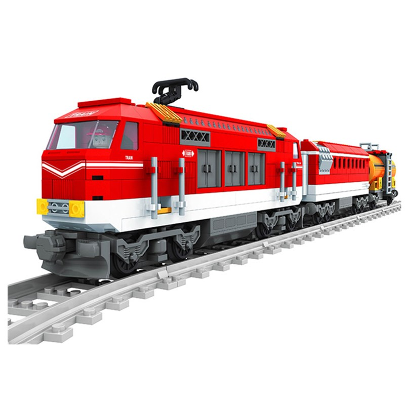 588pcs City Series Train with Tracks Building Blocks Railroad Conveyance Kids Model Bricks Toys lepin Compatible lepin 02012 city deepwater exploration vessel 60095 building blocks policeman toys children compatible with lego gift kid sets
