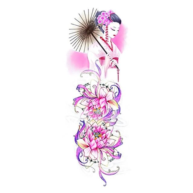 Chinese Pink Lotus Flowers Beauty Girls Sexy Body Art Waterproof