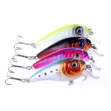 4 Pcs/lot crank head Fishing Lures plastic bionic Bait Tackle Treble Hook Artificial Fishing Baits 3D eyes 11.3g 7cm