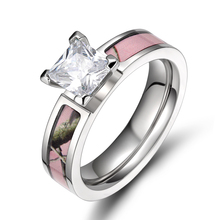 De mujeres de nueva moda 5mm titanium rosa claro árbol camo camo wedding band anillo de compromiso del anillo anéis feminino