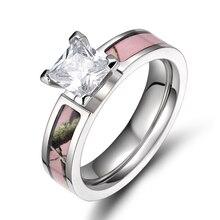 Women's New Fashion 5MM Titanium Light Pink Tree Camo Ring Engagement Ring Camo Wedding Band aneis feminino