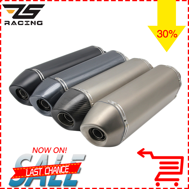 ZS Racing 36-51MM Universal Motorcycle Exhaust Modified Pipe Slip-on Motorbike Exhaust Pipes Carbon For Dirt Bike Scooter ATV motorcycle gp exhaust universal muffler 38 51mm slip on for dirt bike street bike scooter atv quad new
