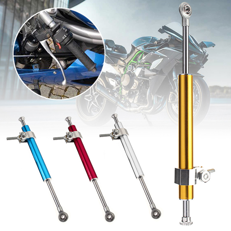 330mm Universal Motorcycle Steering Damper 6way Adjust Stabilizer Linear Motorbike Aluminum