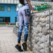 2018 Sexy Camouflage Patchwork Fitness Leggings Women Sporting Dot Print Workout Legging High Waist Elastic Trousers