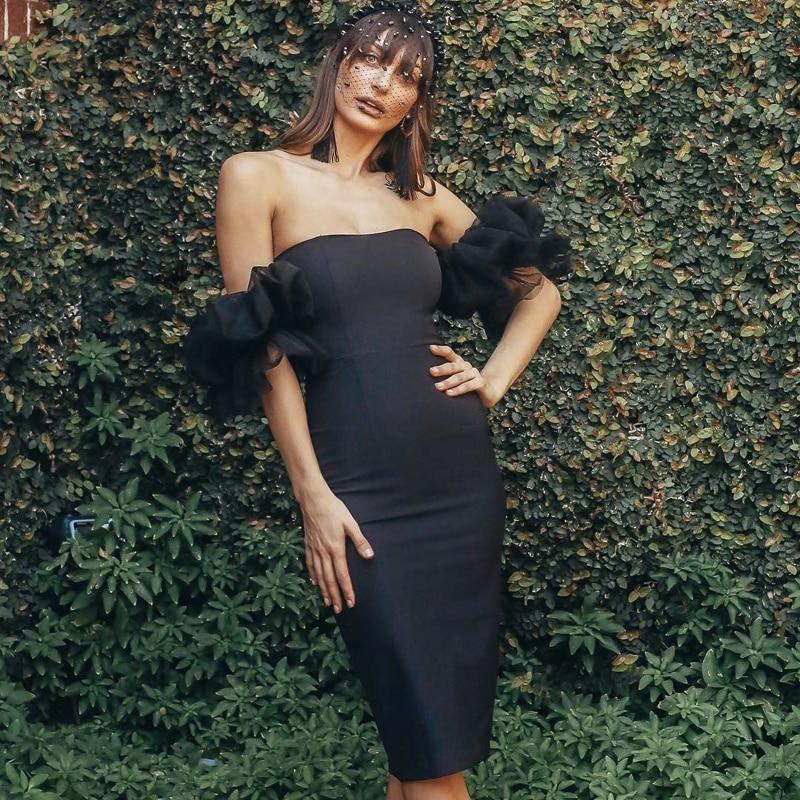 2019 nouveau Style noir hors épaule moulante Bandage robe mode Slash cou Midi Split soirée robes de soirée robes en gros