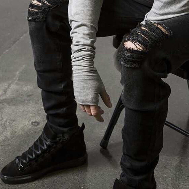 Men's Ripped Biker Jeans Hot New Male Destroyed Swag Joggers Straight Slim Fit Black Denim Pants Motorcycle Skinny Trousers represent clothing designer pants slp destroyed mens slim denim straight skinny biker jeans men slim fit ripped jeans 1376 7 8