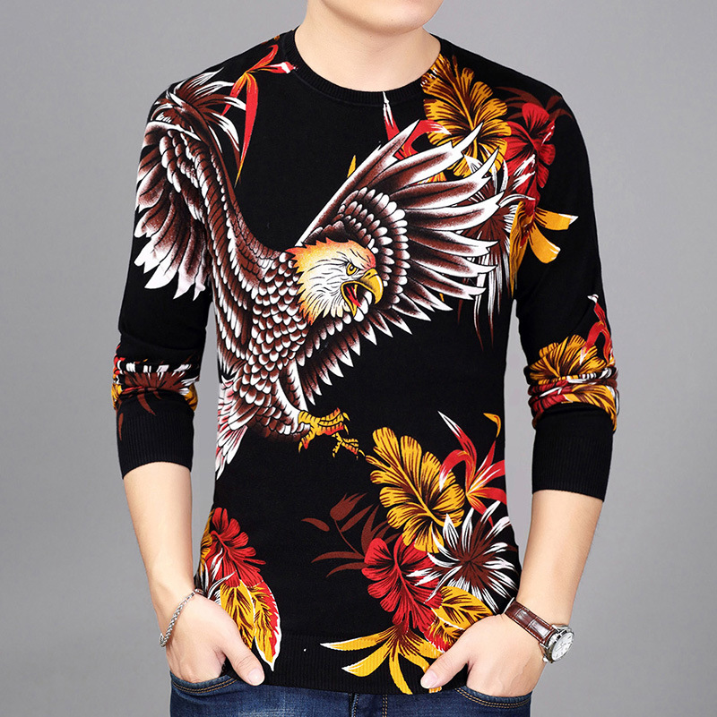 Fall 2020 Men's New 3 D Printing Long Sleeve Knit Young Gentleman Personality Printing The Eagle Pattern