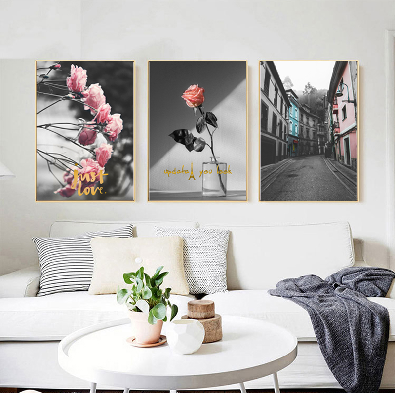 Personalised 20 Photos Wall Art Collage Pink Tulips Effect A4 A3 Satin Poster