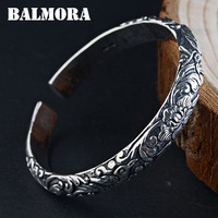 BALMORA 990 Pure Silver Vintage Flower Bangles for Women Mother Lover Party Gift about 19cm Jewelry Accessories Esposas WBH0177