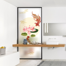 Free Customized Stained Static Cling Window Film Frosted Privacy Glass Sticker Home Decor Digital print BLT1673 Lotus Carp
