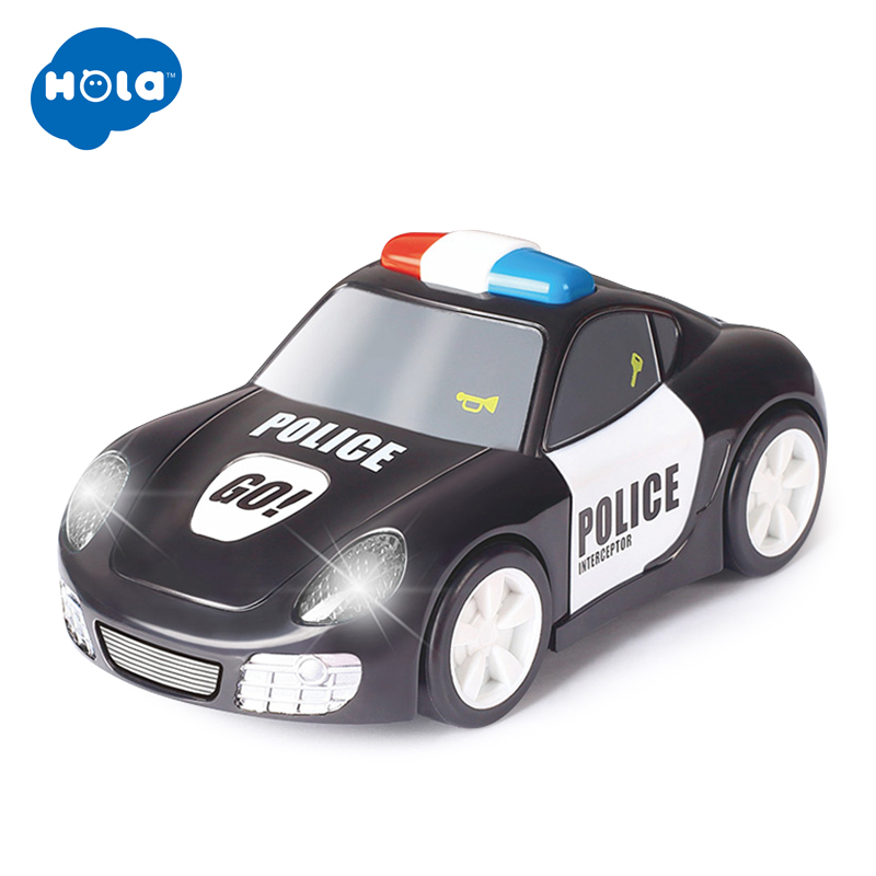 HOLA 6106A Baby Toys Rapid Police Model Car With Touchable Function Pull Back Cars Toys For Children
