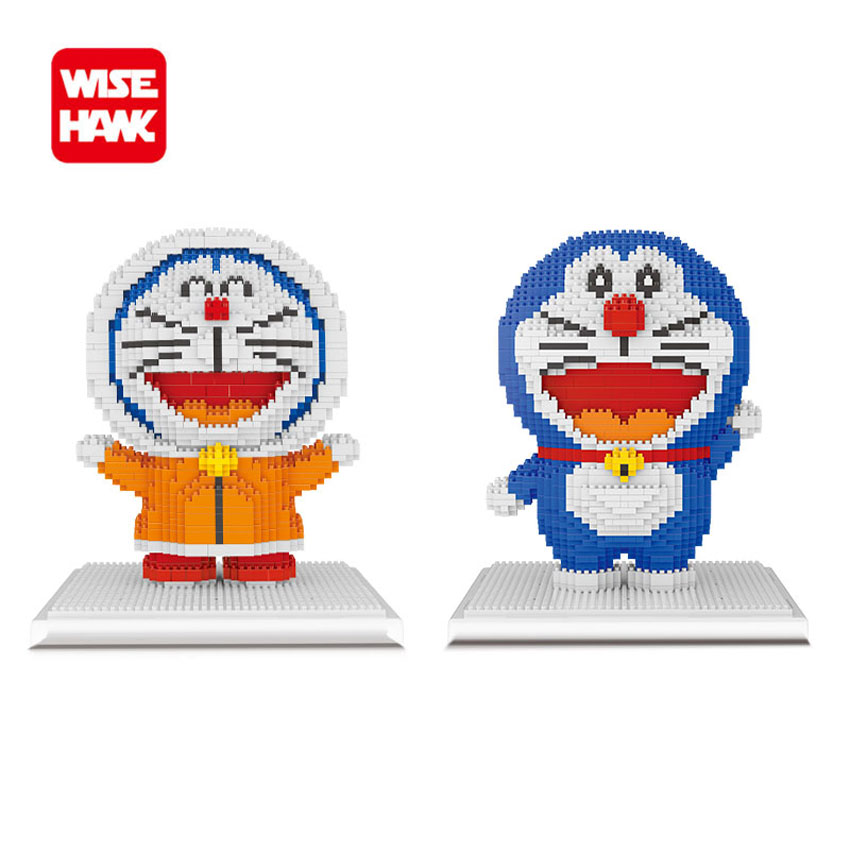 WiseHawk Doraemon Model Nano Blocks Japanese 3D Anime Cartoon DIY Self-assembly Diamond Mini Bricks Christmas Gifts For Children 1500 2200 pcs big size plastic cute cartoon designs of mini nano blocks diamond mini block toys for children diy game
