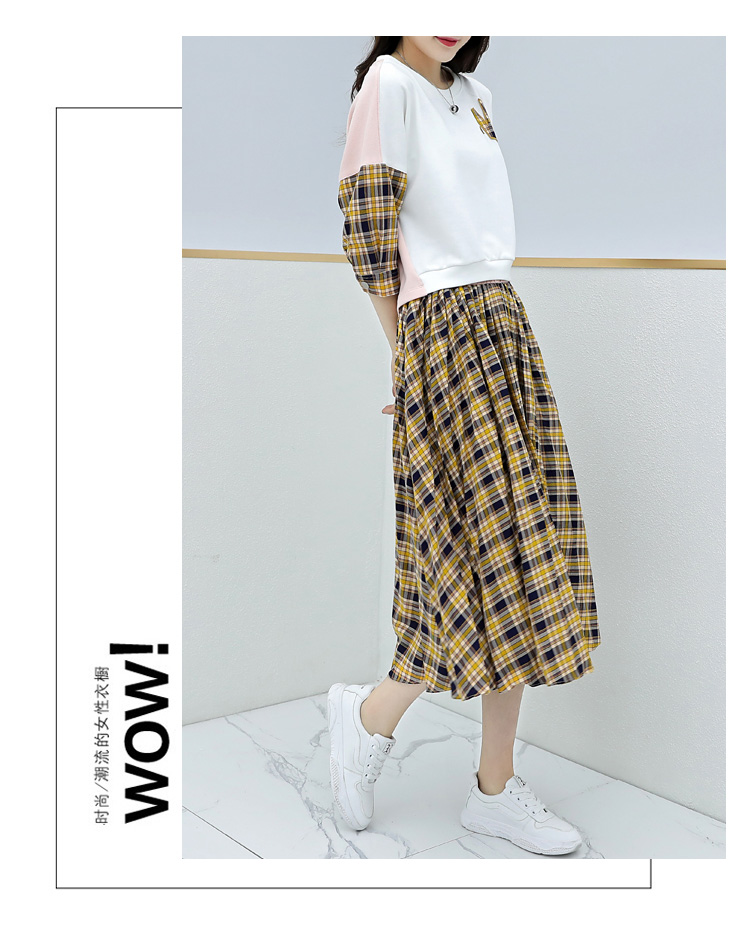 Spring Plaid Two Piece Sets Women Sweatshirt Tops And Pleated Skirt Sets Suits Casual Korean Female Women's Sets Costumes 2019 40