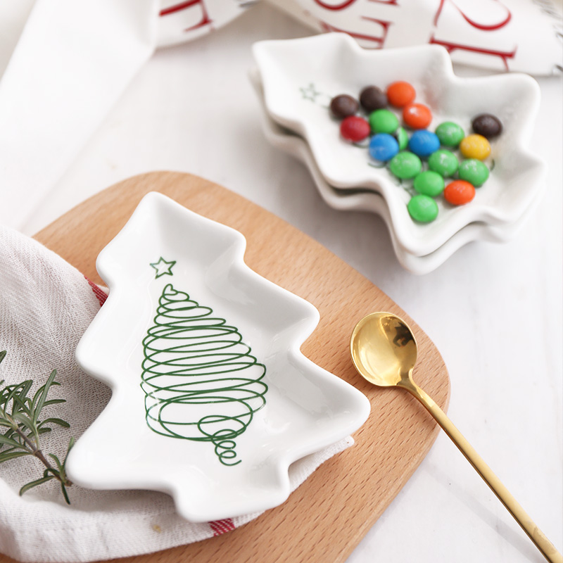 1pc Christmas Tree Ceramic Dishes Porcelain Plates Tableware Dinnerware Salad Cake Fruit Dessert Candy Saucer Afternoon