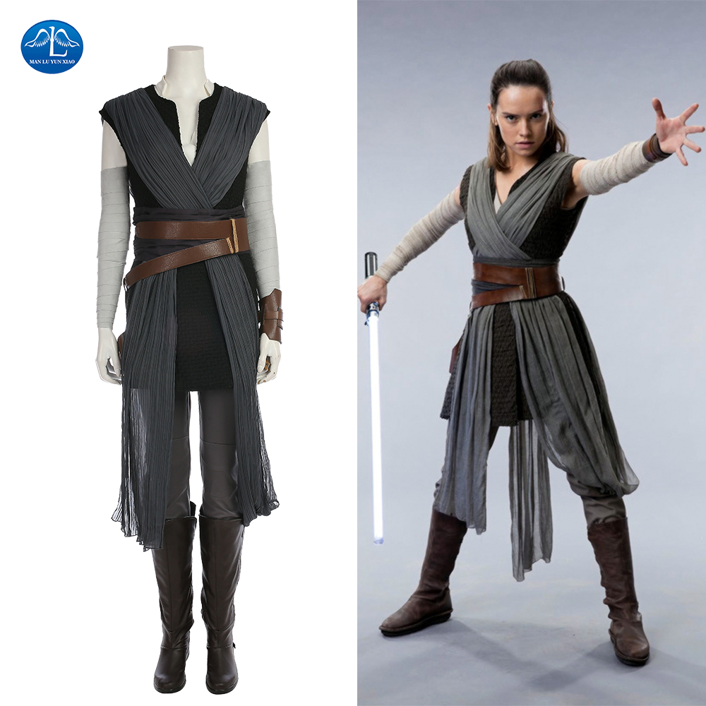 movie star wars the last jedi grey rey costume women adult halloween