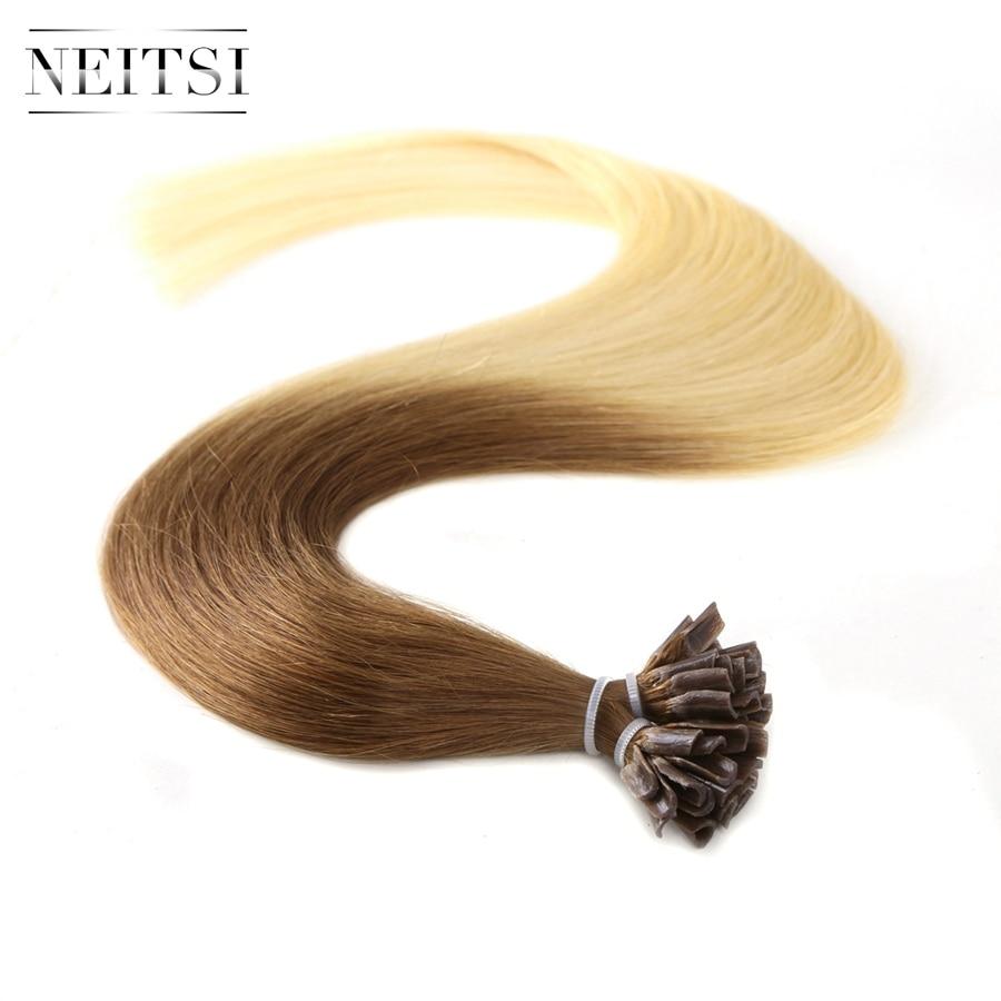 Neitsi Straight Indian Keratin Human Fusion Hair Negle U Tip 100% - Menneskehår (hvid) - Foto 2