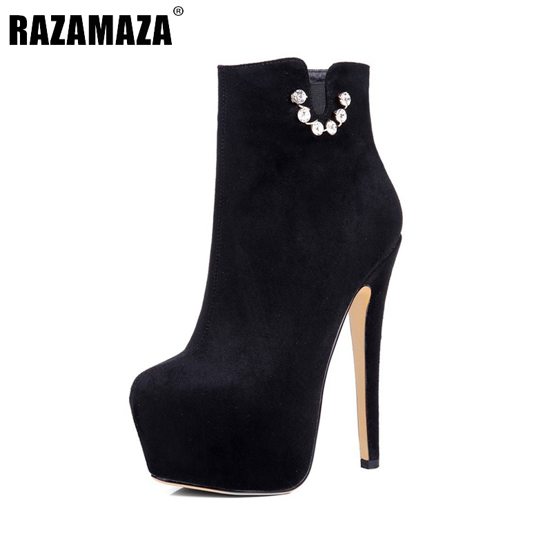 New Classic Women Ankle Boots Woman Platform High Heel Boots Sexy Round Toe Shoes Flock Zipper Woman Boots Size 35-46 B083 women platform square high heel ankle boots fashion side zipper round toe shoes woman black white beige