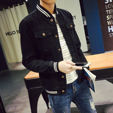 Men's Black Denim Jeans Jacket Coat Men Baseball Collar With Striped Male Jean Jackets Bomber Style Slim Fit Windbreaker Coats