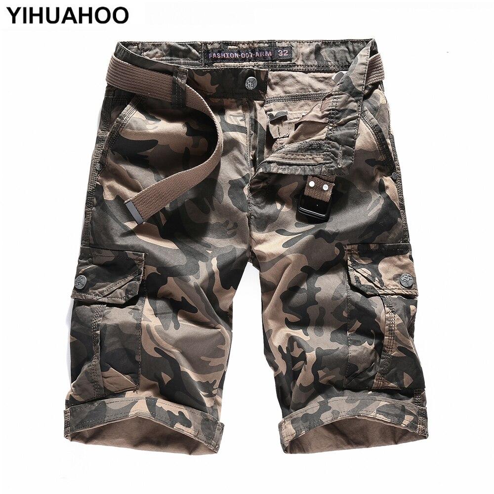 YIHUAHOO Summer Shorts Men 2018 Camouflage Casual Cotton Short Pants Military Trousers Pockets Bermuda Cargo Shorts JOB-1625
