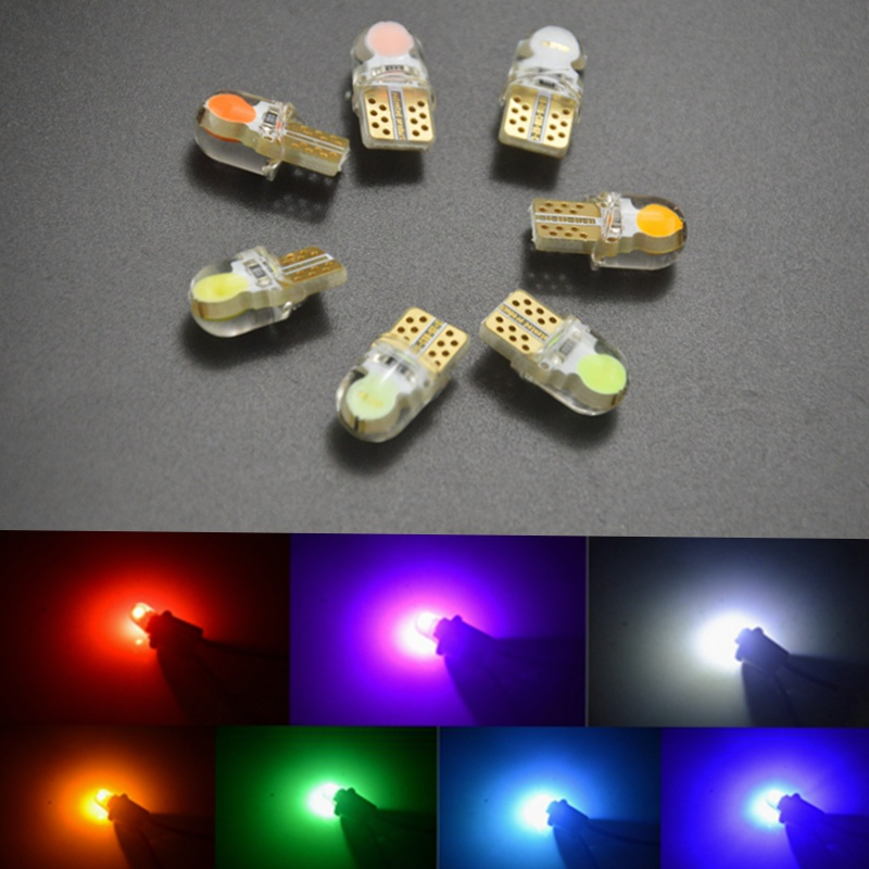 10 X Auto T10 LED W5W LED Bulbs White 194 168 LED Lamp 501 COB silicone shell Car LED Lights Super Bright Turn Side Lamp 12V 4pcs t10 w5w led car lights led bulbs rgb with remote control 194 168 501 strobe led lamp reading lights white red amber 12v
