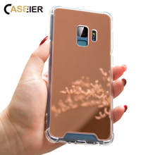 CASEIER Mirror Phone Case For Samsung Galaxy S10 E S10 S9 S8 Plus Four Corner Anti-knock Case For Samsung Noe 8 9 Back Cover Bag