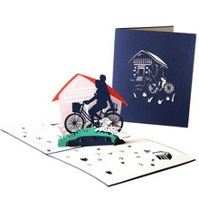 Hoomall Creative 3D Stereo Greeting Card I LOVE DAD Birthday Party Fathers Day Gift Handmade DIY