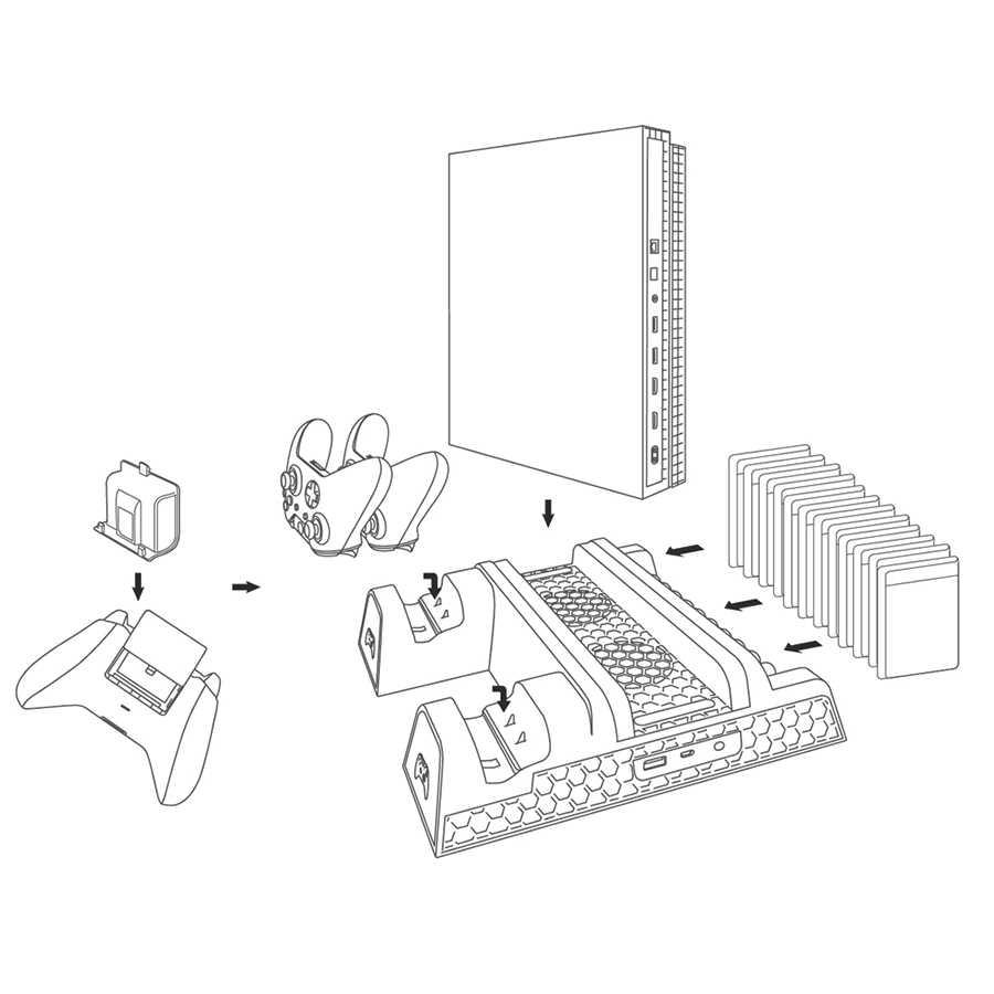 Вертикальная охлаждающая подставка и док-станция для зарядки контроллера станция для Xbox One X/Xbox one Slim с 2 Упак. 600 мАч перезаряжаемые Battry