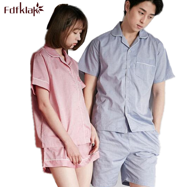 Summer Korean Couple Pajamas Short Sleeve Pyjama Sexy Pajama Shorts Women Sleepw