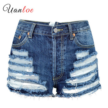 High Waist Hole Distressed Ripped Jeans Shorts Women Fashion Zipper Sexy Streetwear Hollow Out Denim Shorts Pantalon Corto Mujer kobeinc streetwear hole ripped jeans for women flower embroidery ankle length pantalon mujer summer fashion female denim pants