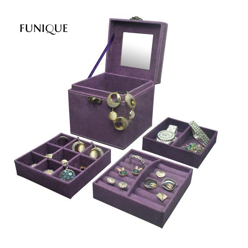 FUNIQUE Fashion Flannel Jewelry Box Princess Flannel Three Layer Creative Storage Gift Box Trinkets Storage Boxes