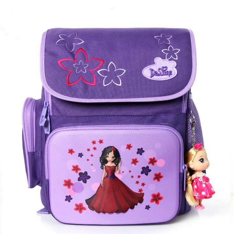 1-6 Grade Delune Brand Authentic School Bag Backpacks Bear Printing Schoolbags for Girls Boys Durable Backpack