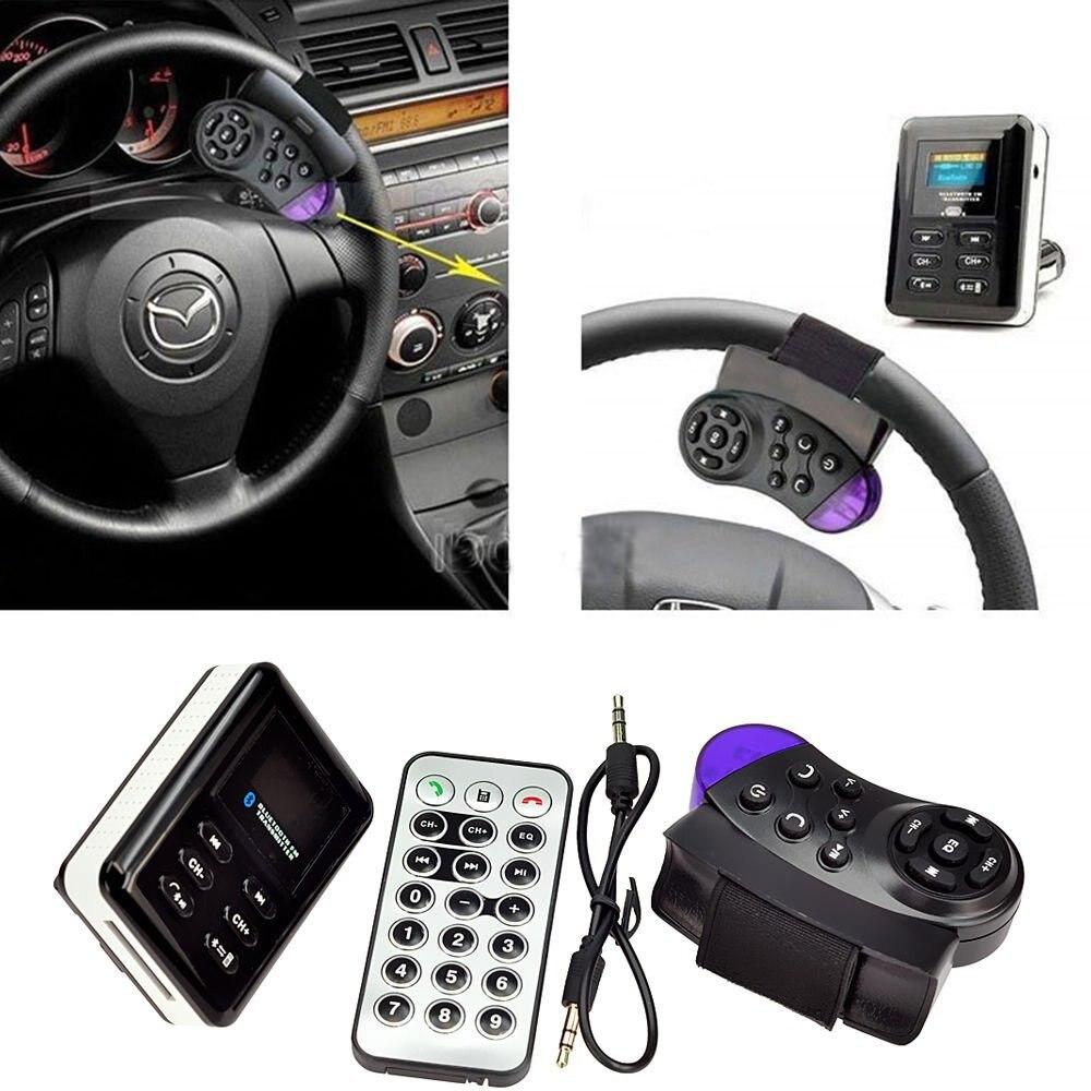 <font><b>Bluetooth</b></font> Car Kit FM Transmitter MP3 Player Steering Wheel USB/SD/MMC Handsfree