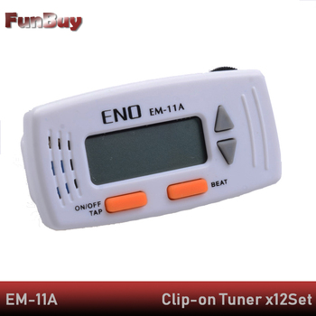 12pcs ENO EM-11 Clip-on Mini Electronic Clip Digital Guitar Metronome for Guitarra Ukulele Violin Guitar Accessories