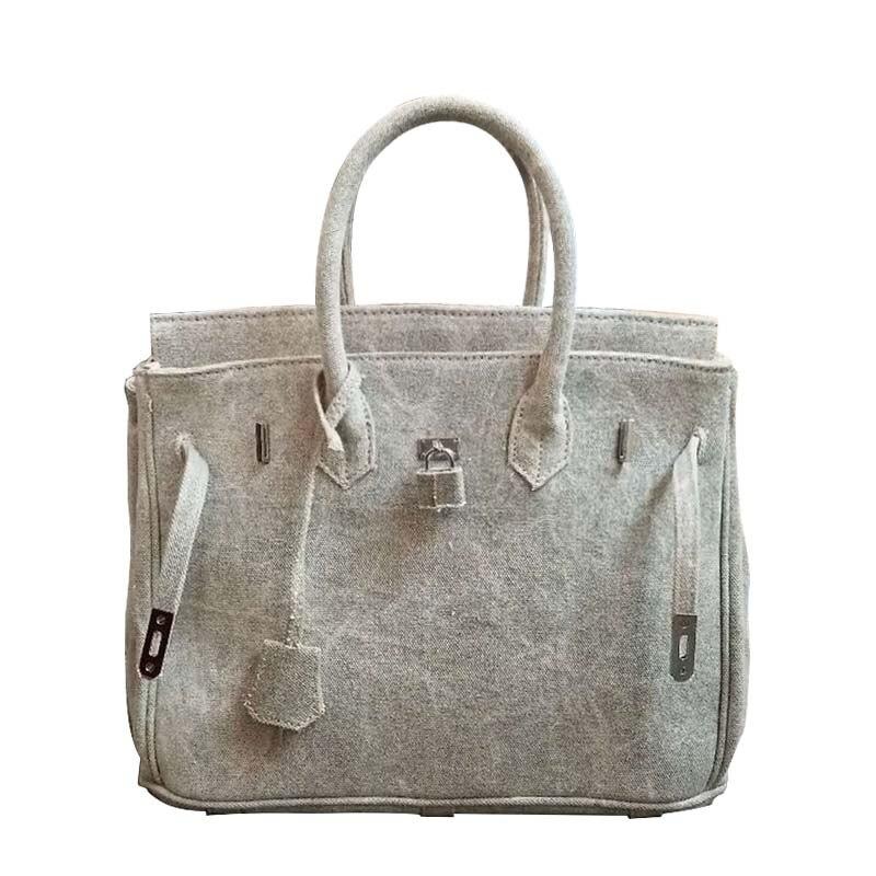Women large big totes Military Green Gray canvas bag Platinum Lock Package handbag
