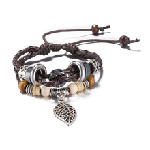 Fashion pulseira Jewelry lovers Leather Bracelet Women Casual Personality Hollow Leaf Beaded Hemp Rope Vintage Punk Bracelet