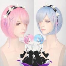 Rem Ram peruka do Cosplay Re Zero rozpoczyna życie w innym świecie peruka akcesoria do Cosplay kostiumy na Halloween tanie tanio anime WOMEN hair Syntetyczny JF02501 Short hair COS anime Pink blue