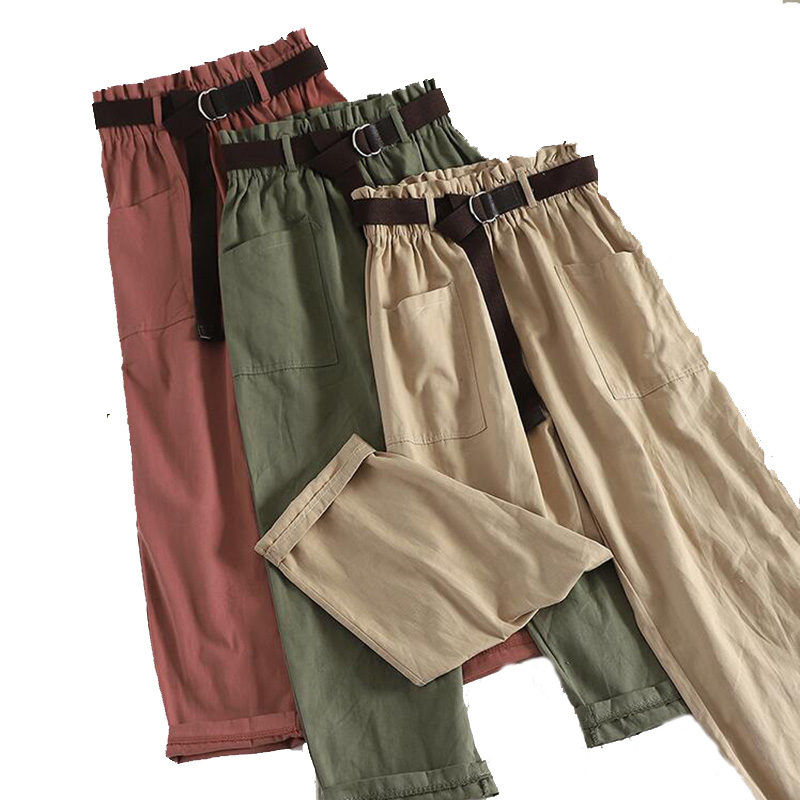 Straight   Pants   Women Hot Sale Solid   Wide     Leg     Pants   Loose   Pants   Bow Ankle Length   Pants   Women's High Waist Stylish Loose   Pants