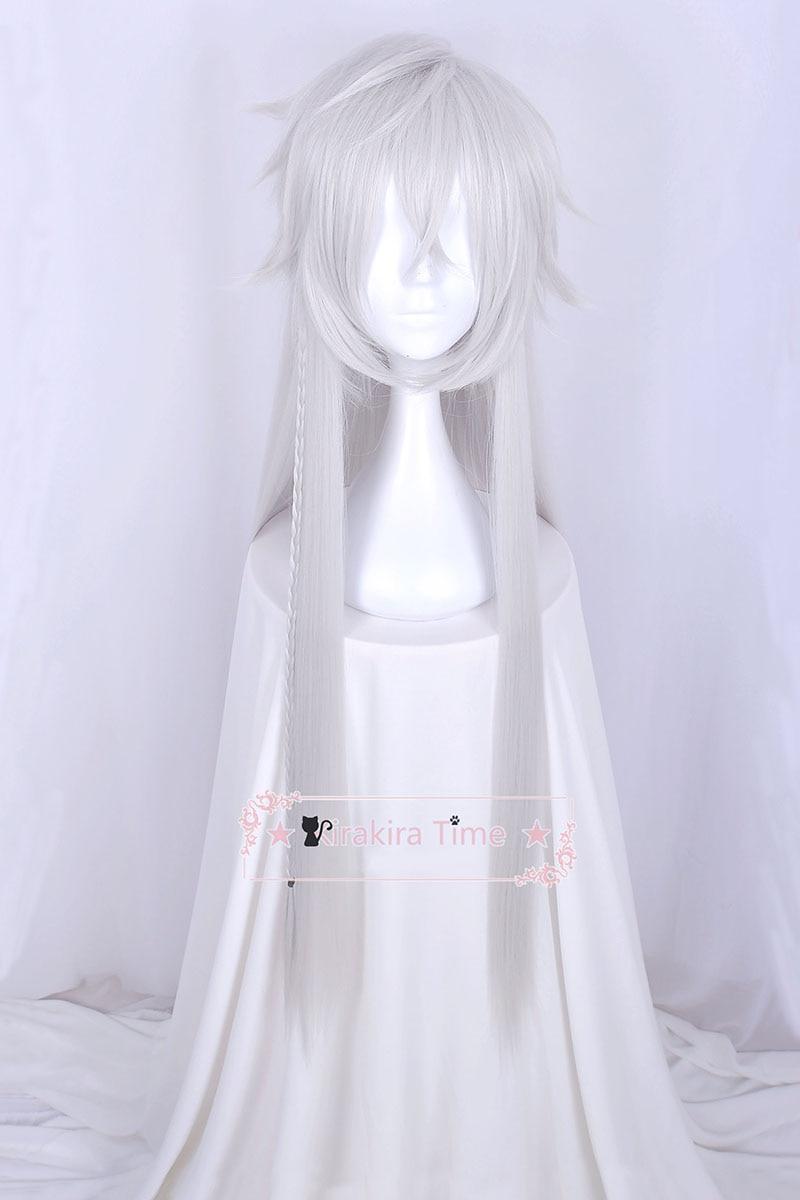 Black Butler Kuroshitsuji Under Taker Undertaker 110cm Long Silver Color Heat Resistant Hair Cosplay Costume Wig + Free Wig Cap