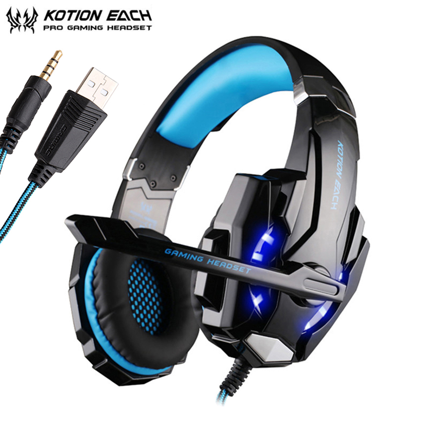KOTION EACH G9000 3.5mm Gaming Headphones casque Stereo Earphone Headset with Mic LED Light for Laptop Tablet / PS4 Gamepad kotion each series gaming headset g2000 g2100 g2200 g4000 g9000 deep bass stereo headphones with mic 2 2m wired earphone for pc