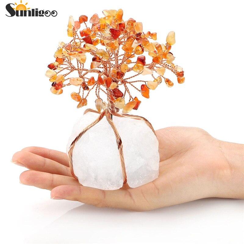 Sunligoo Chakra guérison rouge Agate cristaux cuivre arbre de vie enveloppé naturel clair Quartz cristal Base Feng Shui chance Figurine