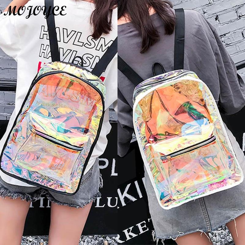New Transparent Holographic Backpack Korean Style Small Rucksack For Girls Shining Hologram Shoulder Bags Mochilas Feminina #2
