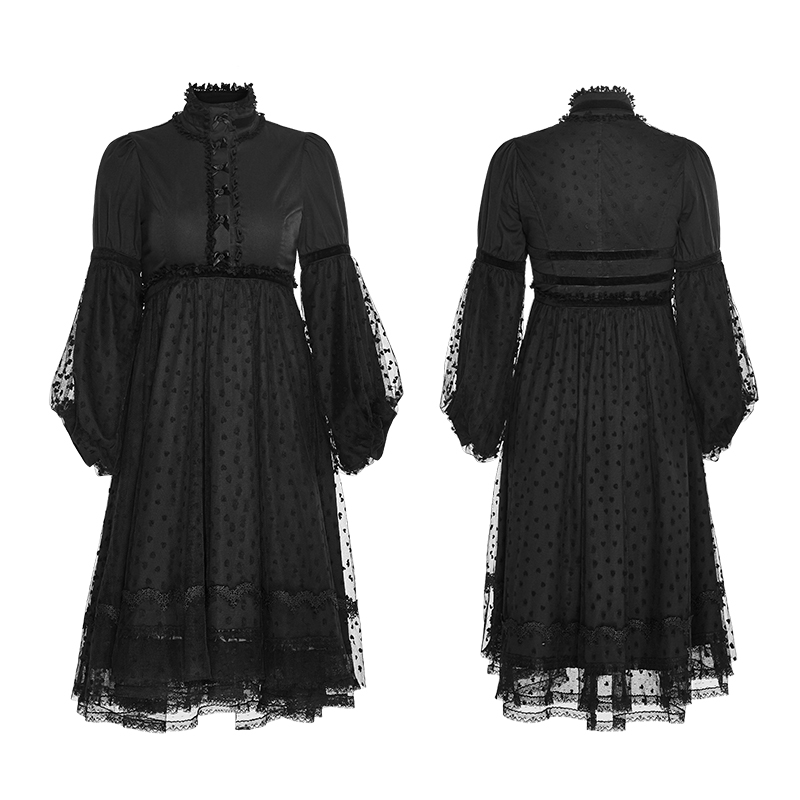 Steampunk Gothic Lolita Style Women Vintage Black Sexy Lace Dress Summer Stand Collar Puff Sleeve Women Palace Dress With Flower